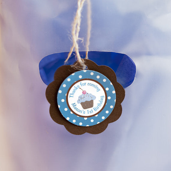 Cupcake Favor Tags Birthday Party - Blue & Brown - Get The Party Started