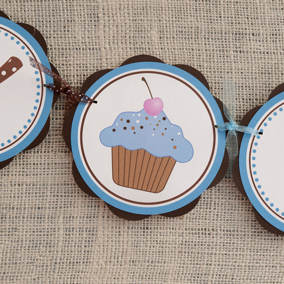 Cupcake Happy Birthday Banner - Brown & Blue - Get The Party Started