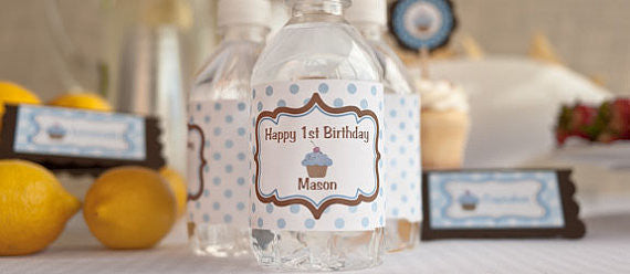 Cupcake Water Bottle Labels Birthday Party - Blue & Brown - Get The Party Started