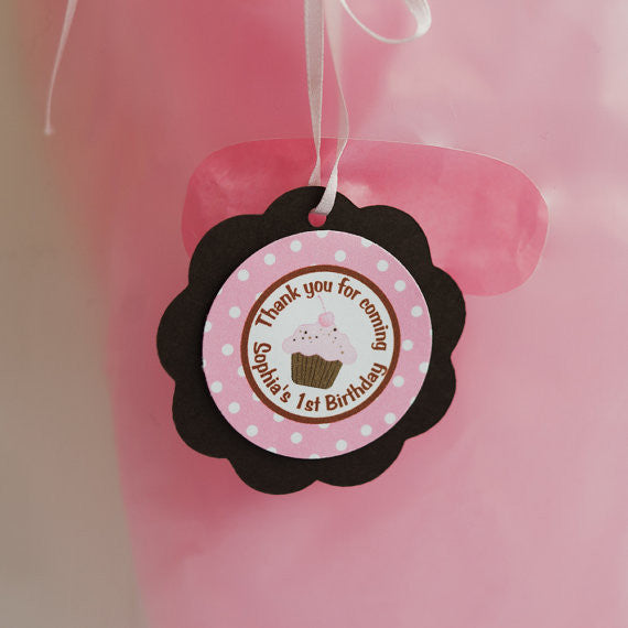 Cupcake Favor Tags Birthday Party - Pink & Brown - Get The Party Started