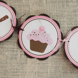 Cupcake Happy Birthday Banner - Pink & Brown - Get The Party Started