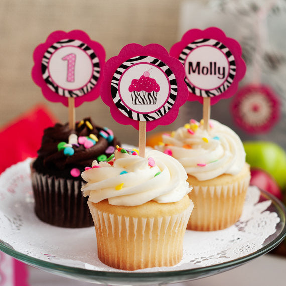 Cupcake Theme Cupcake Toppers Birthday Party - Hot Pink & Black Zebra - Get The Party Started