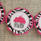 Cupcake Happy Birthday Banner Large - Hot Pink & Black Zebra - Get The Party Started