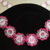 Cupcake I Am 1 Mini Banner Birthday Party - Hot Pink & Black Zebra - Get The Party Started