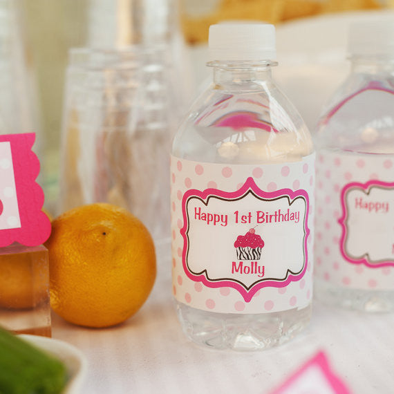 Cupcake Water Bottle Labels Birthday Party - Hot Pink & Black Zebra - Get The Party Started