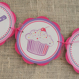 Cupcake Happy Birthday Banner - Hot Pink & Purple - Get The Party Started