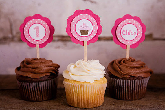 Cupcake Theme Cupcake Toppers Birthday Party - Hot Pink & Light Pink - Get The Party Started