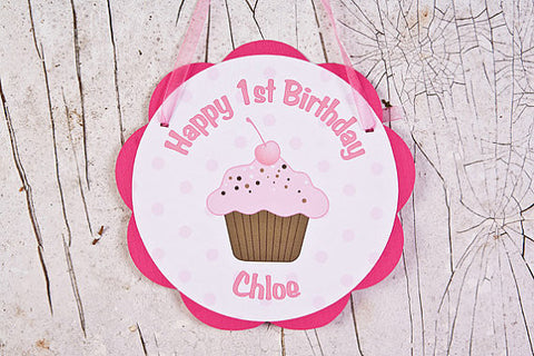 Cupcake Door Sign Birthday Party - Hot Pink & Light Pink - Get The Party Started
