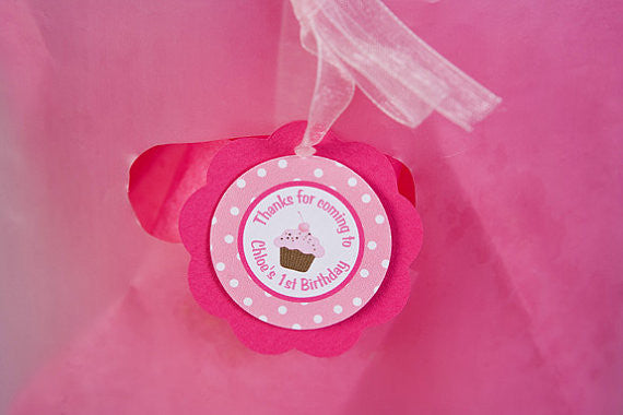 Cupcake Favor Tags Birthday Party - Hot Pink & Light Pink - Get The Party Started