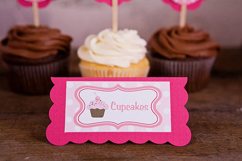 Cupcake Food Tents Birthday Party - Hot Pink & Light Pink - Get The Party Started