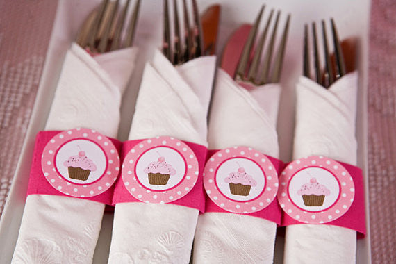 Cupcake Napkin Rings Birthday Party - Hot Pink & Light Pink - Get The Party Started