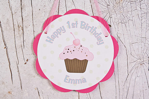 Cupcake Door Sign Birthday Party - Sweet Shop - Get The Party Started