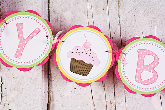 Cupcake Happy Birthday Banner - Sweet Shop - Get The Party Started