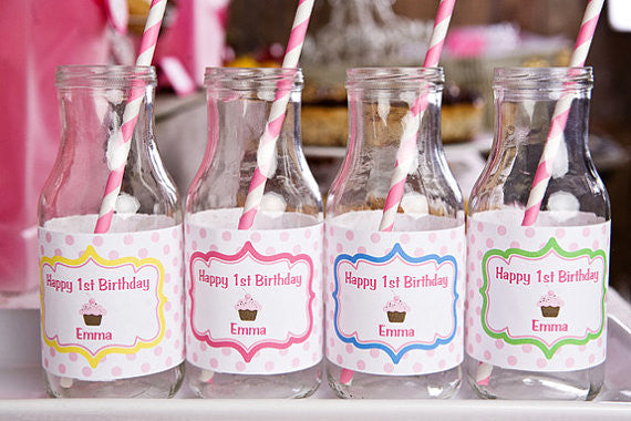 Cupcake Water Bottle Labels Birthday Party - Sweet Shop - Get The Party Started