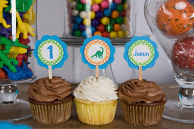 Dinosaur Cupcake Toppers Birthday Party - Get The Party Started