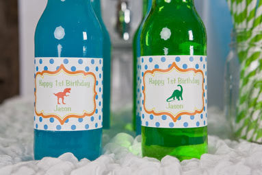 Dinosaur Water Bottle Labels Birthday Party - Get The Party Started