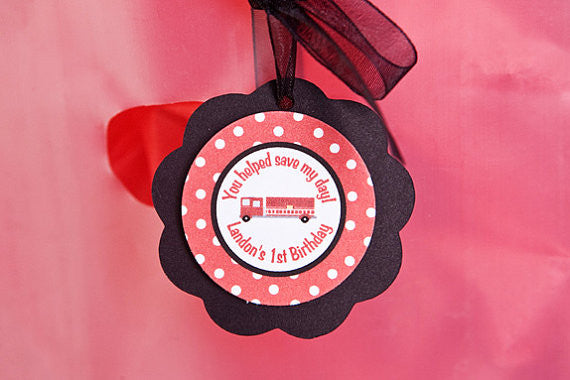 Firetruck Favor Tags Birthday Party - Get The Party Started