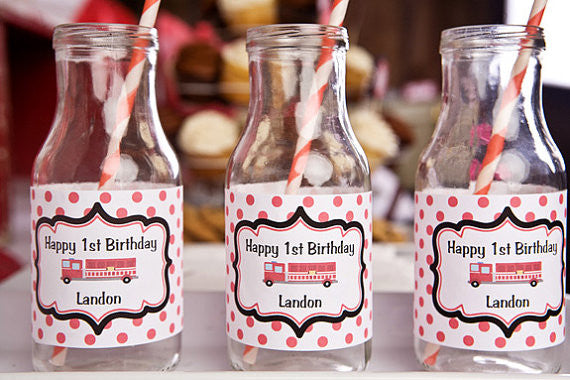 Firetruck Water Bottle Labels Birthday Party - Get The Party Started
