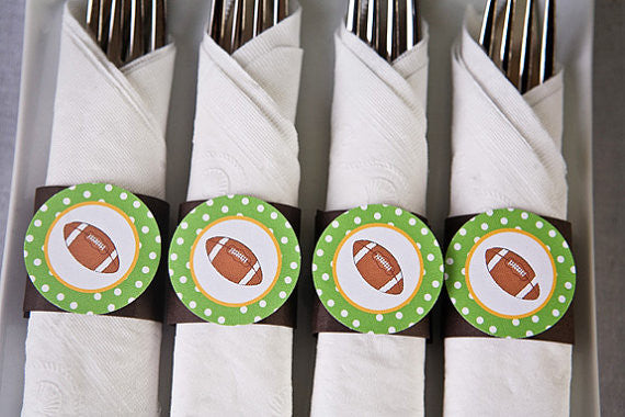 Football Napkin Rings Birthday Party - Get The Party Started