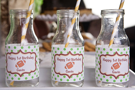 Football Water Bottle Labels Birthday Party - Get The Party Started