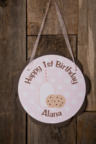 Milk & Cookies Door Sign Birthday Party - Pink & Brown - Get The Party Started