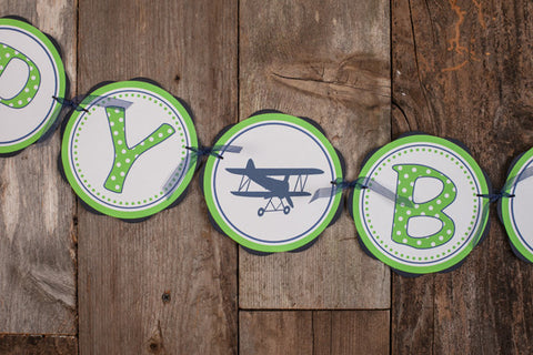 Airplane Vintage Happy Birthday Banner - Navy & Green - Get The Party Started