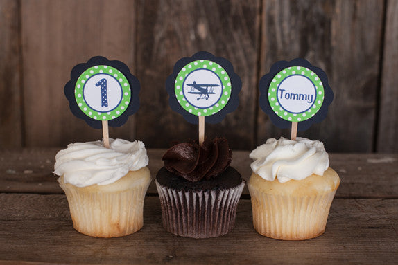 Airplane Vintage Cupcake Toppers Birthday Party - Navy & Green - Get The Party Started