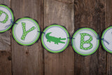 Alligator Happy Birthday Banner - Navy & Green - Get The Party Started