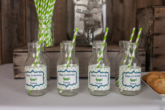 Alligator Water Bottle Labels Birthday Party - Navy & Green - Get The Party Started