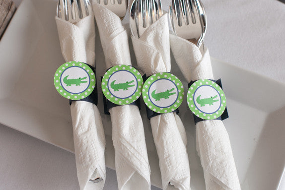Alligator Napkin Rings Birthday Party - Navy & Green - Get The Party Started