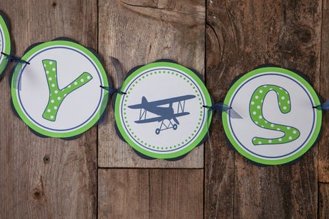 Airplane Vintage Baby Shower Banner Large - Navy & Green - Get The Party Started