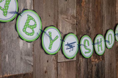 Airplane Vintage Baby Shower Banner - Navy & Green - Get The Party Started
