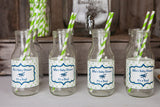 Airplane Vintage Water Bottle Labels Baby Shower- Navy & Green - Get The Party Started