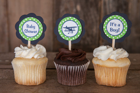Airplane Vintage Cupcake Toppers Baby Shower - Navy & Green - Get The Party Started