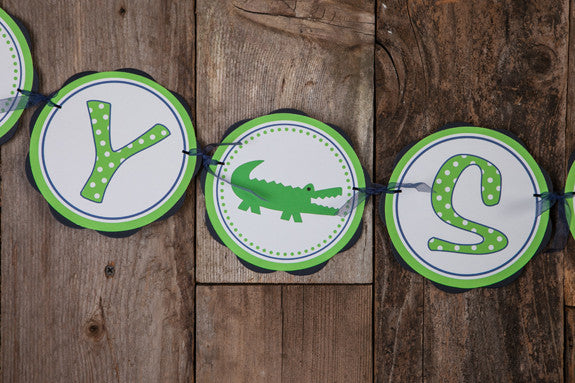 Alligator Baby Shower Banner Large - Navy & Green - Get The Party Started