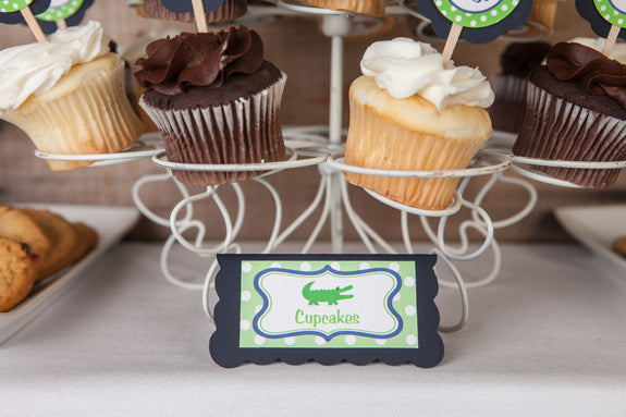 Alligator Food Tents Baby Shower - Navy & Green - Get The Party Started