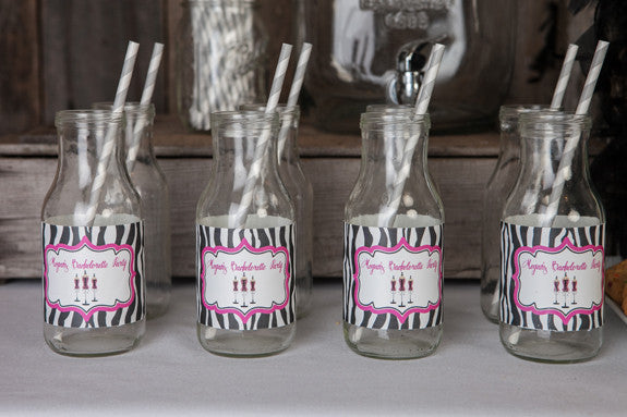 Lingerie Bachelorette Water Bottle Labels - Hot Pink & Zebra - Get The Party Started