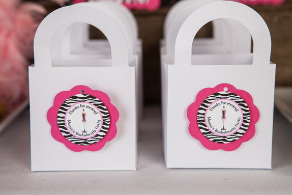 Lingerie Bachelorette Favor Tags - Hot Pink & Zebra - Get The Party Started