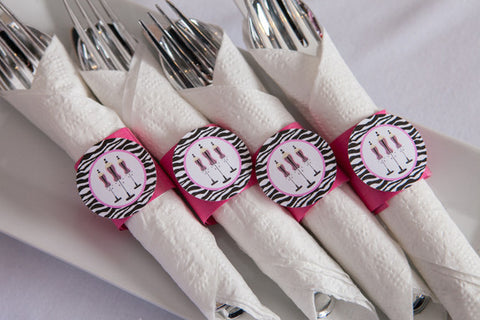 Lingerie Bachelorette Napkin Rings - Hot Pink & Zebra - Get The Party Started