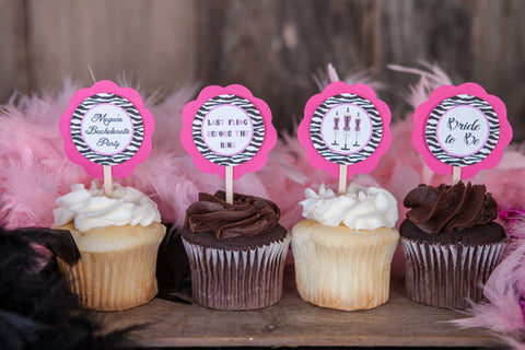 Lingerie Bachelorette Cupcake Toppers - Hot Pink & Zebra - Get The Party Started