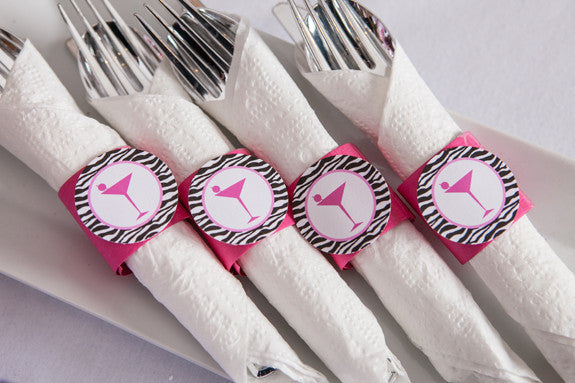 Martini Bachelorette Napkin Rings - Hot Pink & Zebra - Get The Party Started