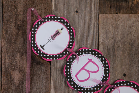 Lingerie Bachelorette Banner - Hot Pink & Black Polka Dot - Get The Party Started