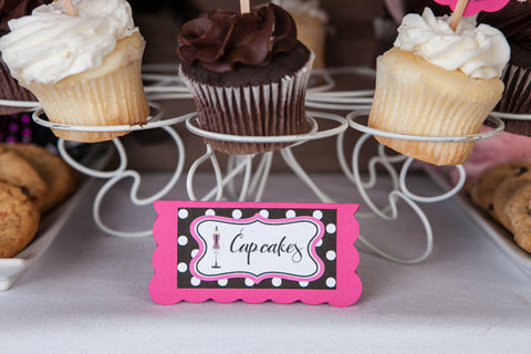 Lingerie Bachelorette Food Tents - Hot Pink & Black Polka Dot - Get The Party Started