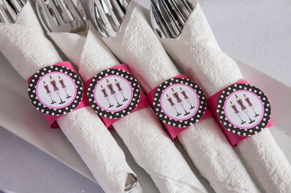 Lingerie Bachelorette Napkin Rings - Hot Pink & Black Polka Dot - Get The Party Started