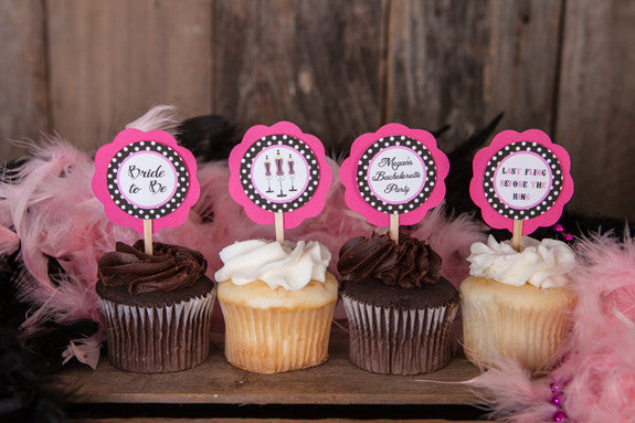 Lingerie Bachelorette Cupcake Toppers - Hot Pink & Black Polka Dot - Get The Party Started
