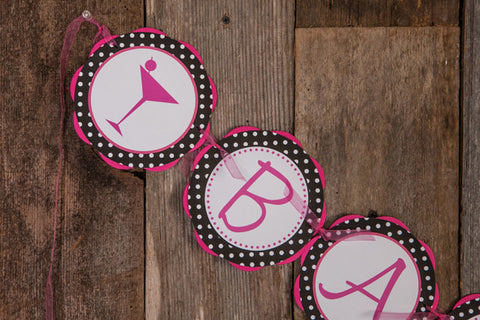 Martini Bachelorette Banner - Hot Pink & Black Polka Dot - Get The Party Started