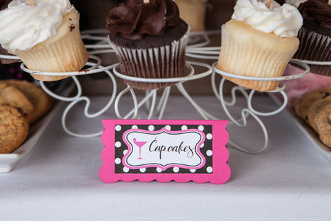 Martini Bachelorette Food Tents - Hot Pink & Black Polka Dot - Get The Party Started