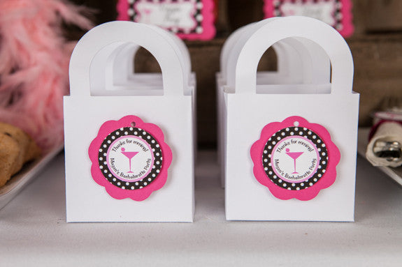 Martini Bachelorette Favor Tags - Hot Pink & Black Polka Dot - Get The Party Started