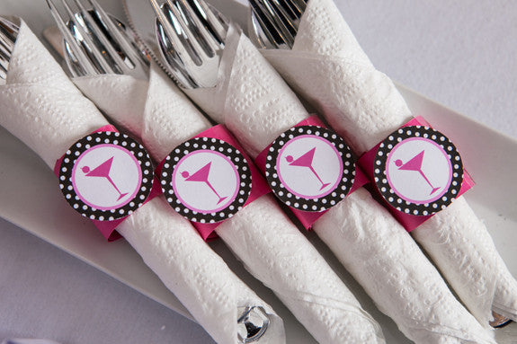 Martini Bachelorette Napkin Rings - Hot Pink & Black Polka Dot - Get The Party Started