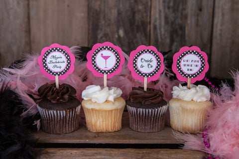 Martini Bachelorette Cupcake Toppers - Hot Pink & Black Polka Dot - Get The Party Started